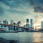 Nyc Skyline In The Sunset V1 Print by Hannes Cmarits