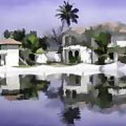 Oil Painting - Cottages And Lagoon Water Art Print