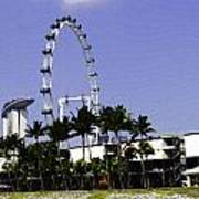Oil Painting - Preparation Of Formula One Race With Singapore Flyer And Marina Bay Sands Art Print