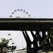 Oil Painting - Span Of The Benjamin Sheares Bridge With Its Pillars In Singapor Art Print