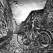 Old Bicycles On A Sunday Morning Art Print by Debra and Dave Vanderlaan