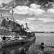 Old Fishing Ship Wreck Art Print