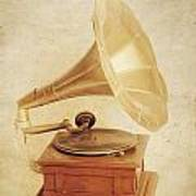 Old Vintage Gold Gramophone Photo. Classical Sound Art Print