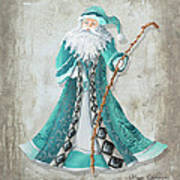 Old World Style Turquoise Aqua Teal Santa Claus Christmas Art By Megan Duncanson Art Print