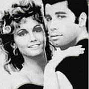Olivia Newton John And John Travolta In Grease Collage Art Print