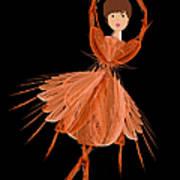1 Orange Ballerina Art Print