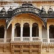 Ornate Balcony At Meherangarh Fort At Jodhpur In India Art Print