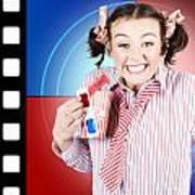 Overjoyed Nerd Woman At 3d Movie Premier Art Print