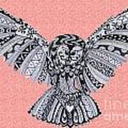 Owl In Flight Pink Art Print