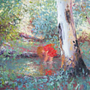 Paddling In The Creek Art Print