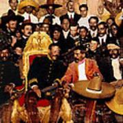 Pancho Villa In Presidential Chair And Emiliano Zapata Palacio Nacional Mexico City December 6 1914 Art Print