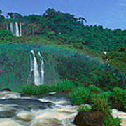 Panoramic View Of Iguazu Waterfalls Art Print