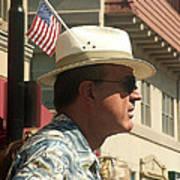 Parade Watcher Flag In Hat July 4th Prescott Arizona 2002 Art Print