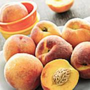 Peaches On Plate Print by Elena Elisseeva