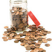Pennies And Jar On White Background Art Print