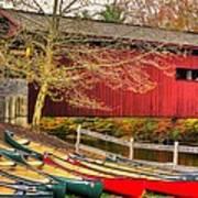 Pennsylvania Country Roads - Bowmansdale - Stoner Covered Bridge Over Yellow Breeches Creek - Autumn Art Print