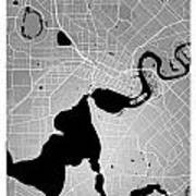 Perth Street Map - Perth Australia Road Map Art On Colored Backg Art Print