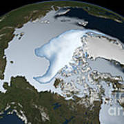 Planet Earth Showing Sea Ice Coverage Art Print