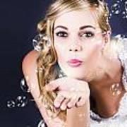Playful Bride Blowing Bubbles At Wedding Reception Art Print