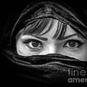 Portrait Of Beautiful Arab Woman With Brown Eyes Wearing Black S Art Print