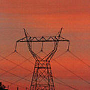 Power Lines Just After Sunset Art Print