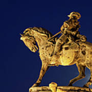 Prince Eugene Of Savoy Statue At Night Art Print