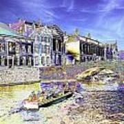 Psychedelic Bruges Canal Scene Art Print