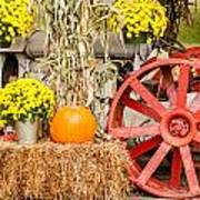 Pumpkins Next To An Old Farm Tractor Art Print