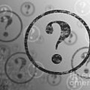 Question Mark Background Bw Art Print
