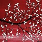 Red Japanese Cherry Blossom Art Print