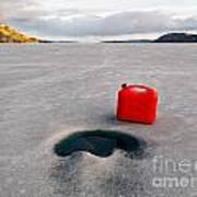 Red Jerrycan Lost On Frozen Lake Laberge Yukon T Art Print