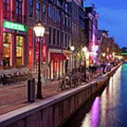 Red Light District In Amsterdam Art Print