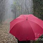 Red Umbrella In The Forest Art Print