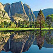Reflections Of Yosemite Falls Art Print