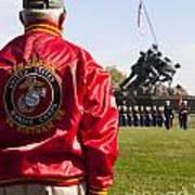 Retired Marine Paying Respect Art Print
