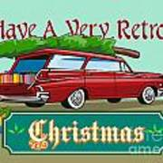 Retro Christmas Tree Station Wagon Art Print by Aloysius Patrimonio