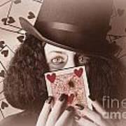 Retro Magician Holding Burnt Playing Card Art Print