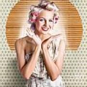 Retro Woman At Beauty Salon Getting New Hair Style Art Print