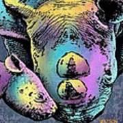 Rhino And Baby Art Print