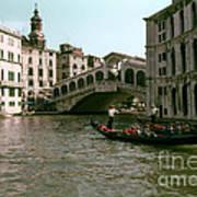 Rialto Bridge In The Grand Canal Art Print