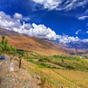 Road And Mountains Of Leh Ladakh Jammu And Kashmir India Art Print