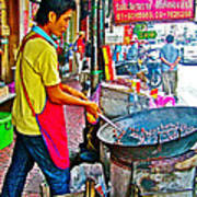 Roasting Chestnuts In China Town In Bangkok-thailand  Art Print
