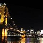 Roebling Suspension Bridge Pano 3 Art Print