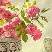 Roses In Watering Can Art Print