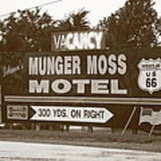 Route 66 - Munger Moss Motel Sign Art Print