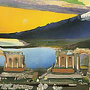 Ruins Of The Greek Theatre At Taormina Art Print