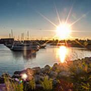 Sailboat Pier In Lake Michigan Nature Scenary Near Racine Wisconsin Art Print