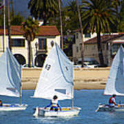 Santa Barbara Harbor Yacht Race Art Print