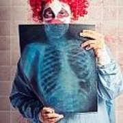 Scary Clown Peeking Behind X-ray. Funny Bones Art Print
