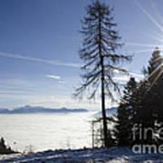 Sea Of Fog Over An Alpine Lake Art Print